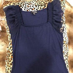 Deep blue sheer butterfly sleeve shirt